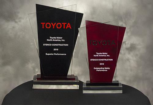 Stenco Construction won two Toyota Supplier Awards for Superior Performance in Construction, Machinery, and Equipment, and Outstanding Safety Performance.